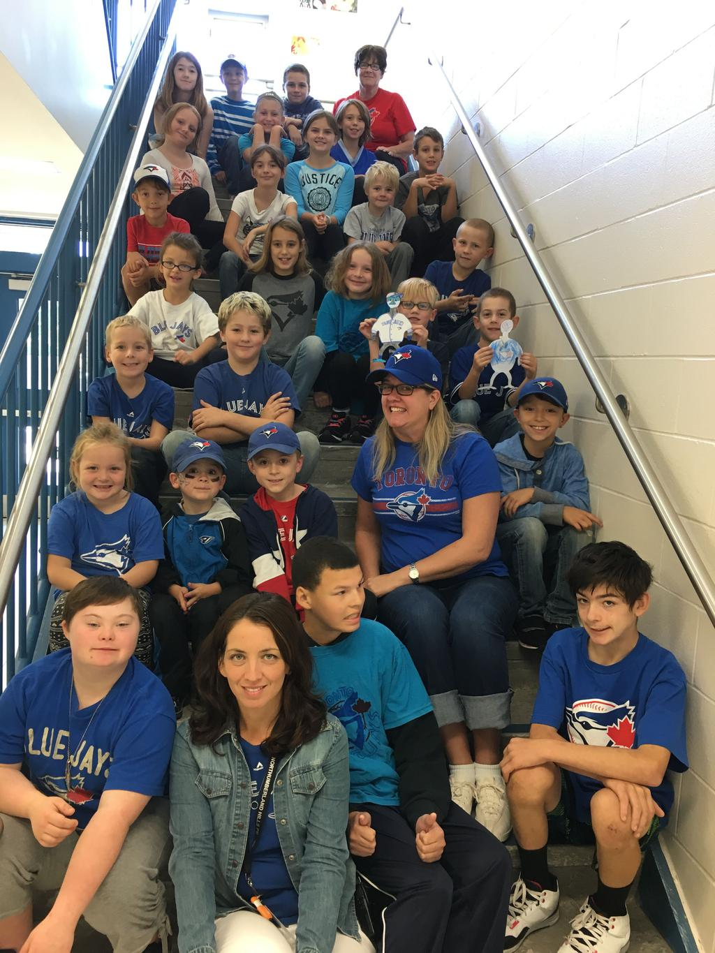 Staff and students supporting the Blue Jays