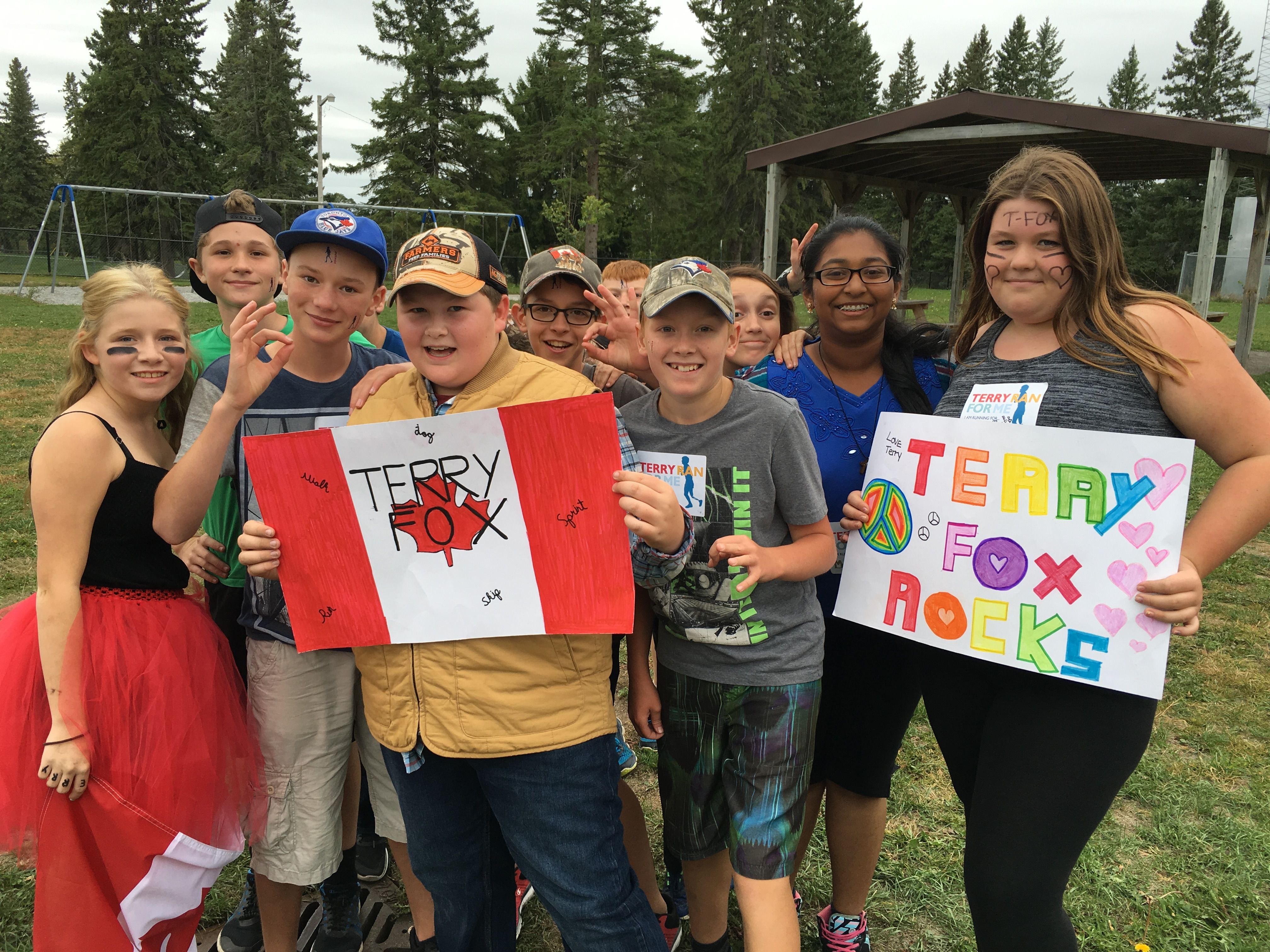 Students participating in Terry Fox run