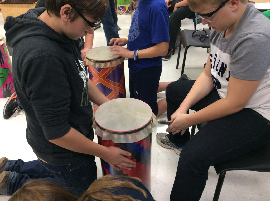 Students creating drums